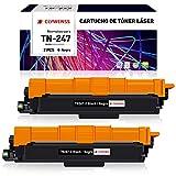 Clywenss Compatible TN247 TN243 Reemplazo para Brother TN-247 TN-243 Cartuchos de tóner para HL-L3210CW HL-L3230CDW HL-L3270CDW MFC-L3710CW MFC-L3730CDN MFC-L3750CDW MFC-L3770CDW DCP-L3510CDW (2Negro)