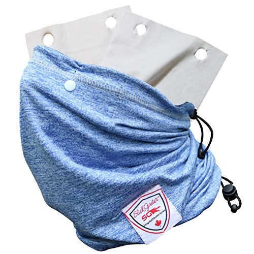 Slick Gaiter Face Mask 3-Ply Filter Pocket Neck Gaiter+2 Washable Reusable Air Filters & Flexible Nose Bridge Wire Adjustable Bungee Straps 4-Layer Protection Dust Mask UV-Blocking Cooling Bandana