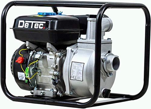 DeTec. DT-LBB80 Benzin-Wasserpumpe 2 Zoll klein | Gartenpumpe | Schmutzwasserpumpe (6,5 PS Motor, 60000 L/h, Laufzeit: 8-9 Stunden, Max. Förderhöhe: 28 Meter, Max. Ansaughöhe: 7 Meter)
