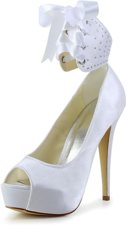 Jia Jia Women's Bridal 20115 Peep Toe Hight Heel Satin Wedding shoes White 9.5 B(M) US