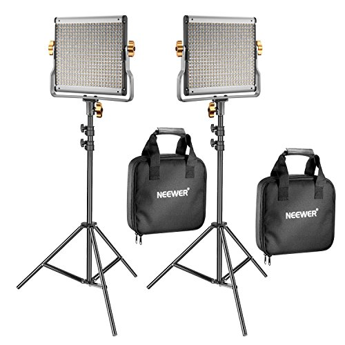 Neewer 2 Kit d'Illuminazione Luce 480 LED Bicolore Dimmerabile & Cavalletto: Faretto LED 3200-5600K CRI 96+ con Staffa-U & 190cm Cavalletto per YouTub