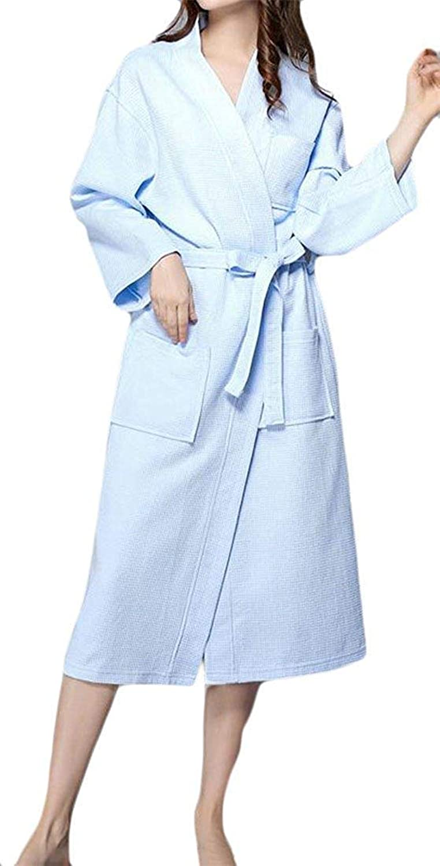 Cedodo Women's Long Robe Waffle Weave Lightweight Spa Cotton Bathrobe with Pockets