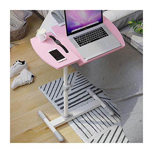 ALBBMY Laptoptisch Notebooktisch, Pflegetisch Rolltisch Betttisch Sofatisch, Auf Rollen, Höhenverstellbar Und Neigungsverstellbar Laptopwagen (Color : Pink)