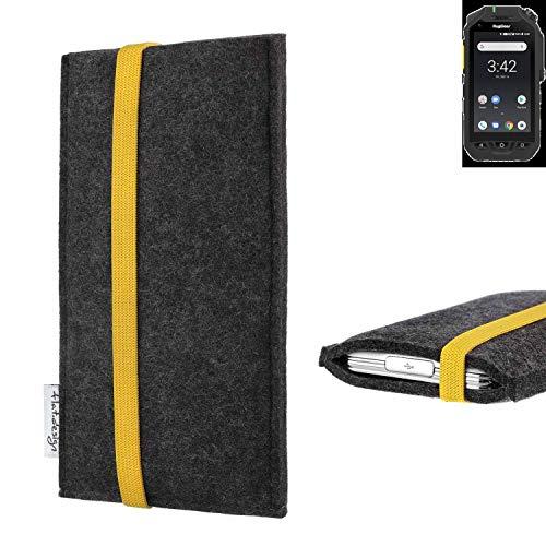 flat.design vegane Handy Tasche Coimbra kompatibel mit Ruggear RG725 - Schutz Hülle Tasche Filz vegan fair gelb