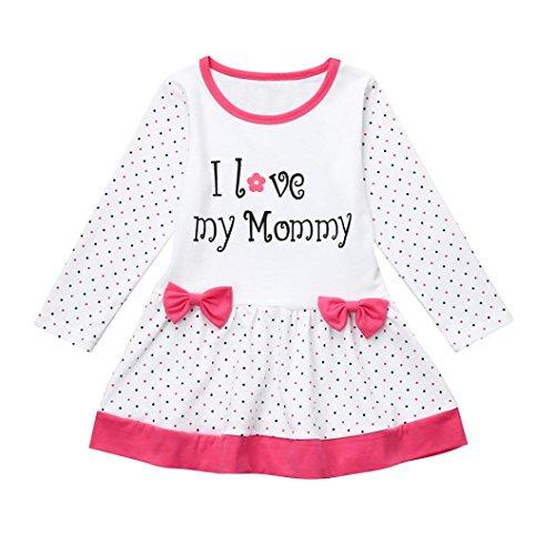 Kindermode Kinderkleidung Longra Mädchen Kleider Kinder Kleider Lange Ärmel Baumwolle T-Shirt Kleid Mädchen Brief Bowknot Prinzessin Dot Kleid (White, 100CM 4Jahre)