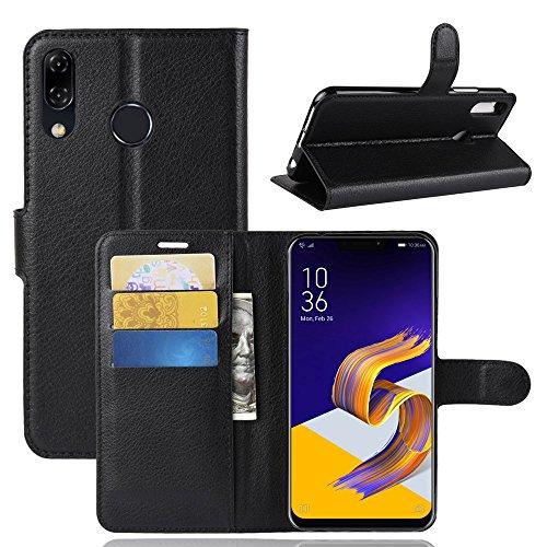 Capa Capinha Carteira Case 360 Para Asus Zenfone 5 / 5z Ze620kl Zs620kl Tela De 6.2Couro Sintético Flip Wallet Para Cartão - Pronta Entrega (Preto)