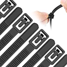 Reusable Zip Ties Assorted Sizes 6+8+10+12 Inch 200 Packs Releasable Zip Tie Heavy Duty Round Ending No Hurt Removable Cable Ties Reusable Indoor Outdoor Tie Wraps for Wire No Slip Off(200, Black)