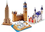 Buildream 3D Puzzles for Kids (Gift Pack: Set of 4 Famous Building Puzzles in Individual Color Boxes and can be Used as 4 Gifts), 110 Puzzle Pieces
