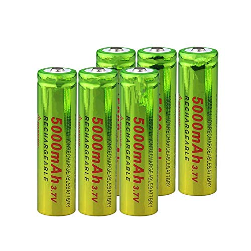 RitzyRose Batería 18650 3,7 V 5000 mAh, batería recargable de iones de litio para linterna, 6 unidades