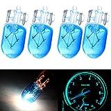 cciyu 4pcs Blue 12V T10 Wedge Halogen W5W 168 194 2825 175 LED Interior Light Bulbs Instrument Panel Gauge Light