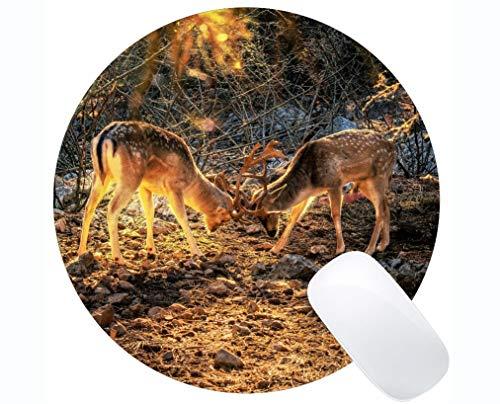 Gaming Round Mouse Pad Design, Geweih Pelz im Freien Wald - Genähte Kanten