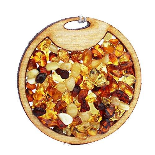 Colgante Hecho a Mano de ámbar y Madera, círculo, se Puede Utilizar como un Amuleto.