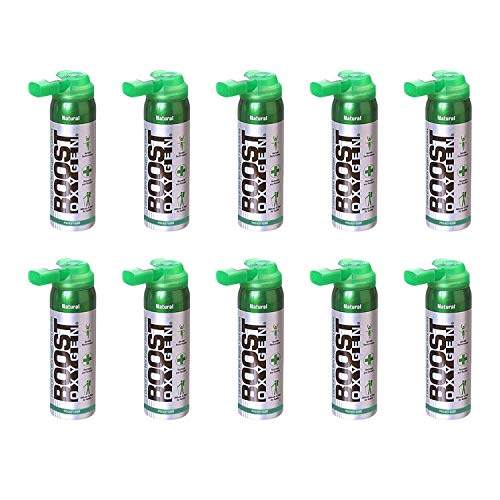 Boost Oxygen Canned 2 Liter Portable Natural Oxygen Canister Bottle for High Altitudes, Athletes, and More, Flavorless (10 Pack)