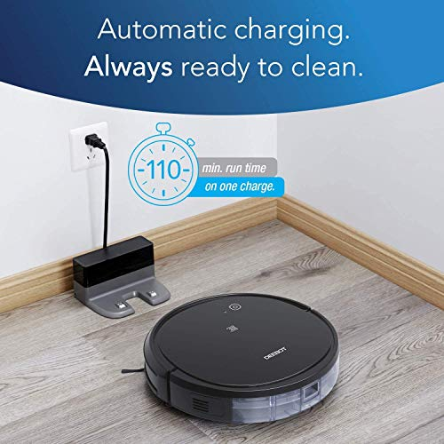 ECOVACS Deebot 500 Robotic Vacuum Cleaner with App & Voice Control, Strong Suction and Multiple Cleaning Modes, Self-Charging for Carpets & Hard Floors,Work with Alexa (Black)