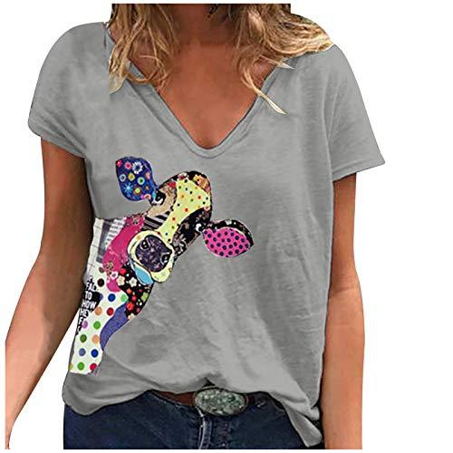 Camiseta de mujer de tallas grandes, blusa gráfica, elegante, de manga corta, cuello en V, básica, para verano, túnica, Gris A., L