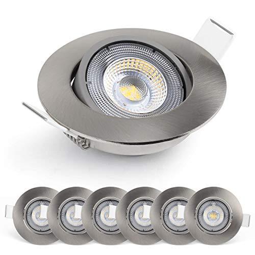 Emos LED ultra-flache Einbaustrahler 50° schwenkbar, Set mit 6 Stück Spots rund, 5W / 450lm / warmweiß 3000k, neueste LED Modul generation Einbauleuchten für Innen, Farbe nickel/silber