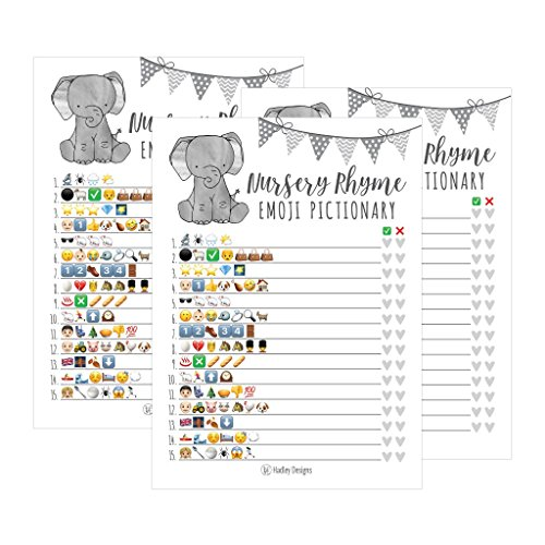 25 Elephant Emoji Nursery Rhyme Baby Shower Game Party Ideas For Pictionary Quiz, Boys Girls Kids Men Women and Couples, Cute Classic Bundle Pack Set Gray Gender Neutral Unisex Fun Coed Guessing Card