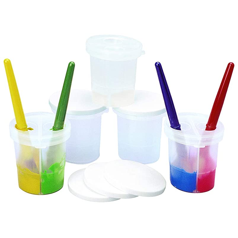Colorations Double-Dip Divided Paint Cups Multipack for Kids Painting Supplies(Set of 5) ddrfllxp826488