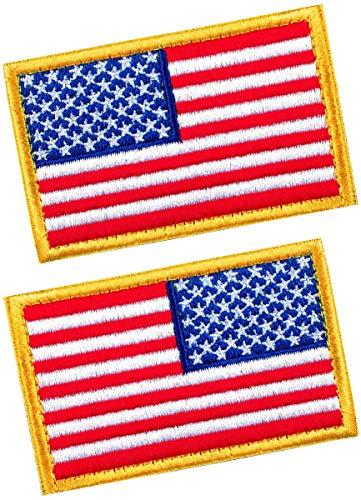 Taktische Patches von USA Amerikanische Flagge Regular & Reverse, mit Haken & Schlaufe für Rucksäcke, Kappen, Hüte, Jacken, Hosen, Militär-Armee-Uniform Embleme, Größe 7,6 x 5,1 cm, 2 Stück