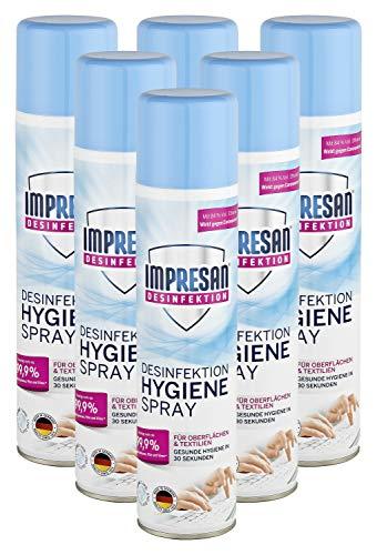 Impresan Hygiene-Spray Aerosol - Desinfektionsspray für Oberflächen und Textilien - 400 ml - enthält 84% Vol. Ethanol, 6er Pack im praktischen Vorteilspack