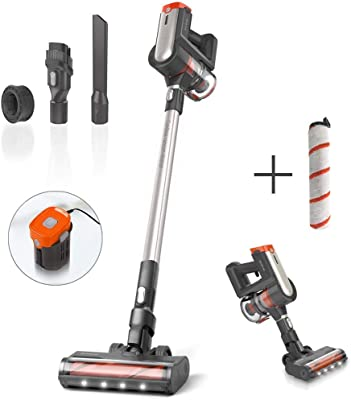 Womow 25Kpa Powerful Cordless Vacuum Cleaner with Extra Soft Roller Brush for Hardwood Floor