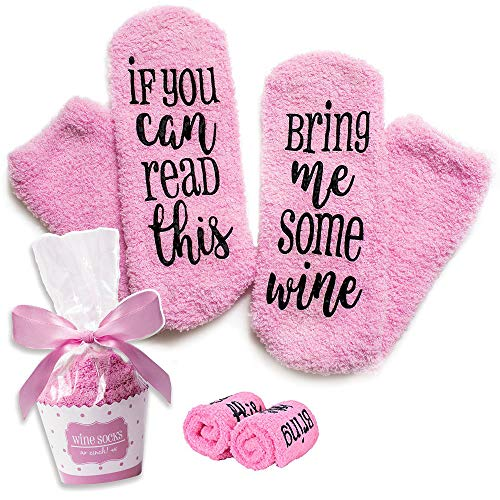 A ASICSOCI Funny Wine Socks with Cupcake Gift Packaging with If You Can Read This Socks Bring Me Some Wine Phrase - Funny Accessory for Her, Present for Wife, Gifts for Women Under 23 Dollars