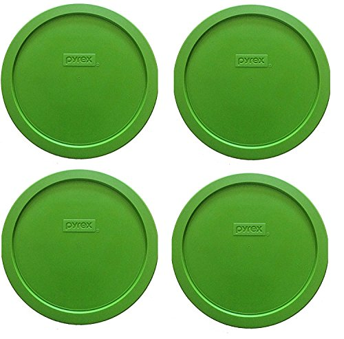 (4 Lids, Green) - Pyrex 7402-PC Round 6/7 Cup Storage Lid for Glass Bowls (4, Green)