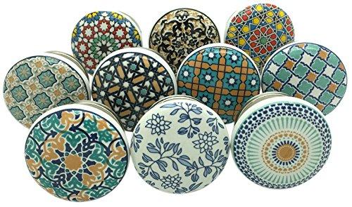 G Decor, Positive Energy VI, set di 10pomelli in ceramica, ideale per credenze e cassetti shabby chic o vintage o per maniglioni