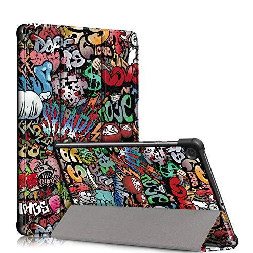 TOPCASE Custodia Ultrasottile Compatibile con Samsung Galaxy Tab S6 Lite 10.4 SM-P610/SM-P615 Cover con funzione di supporto e Auto Sveglia/Sonno,Graffiti