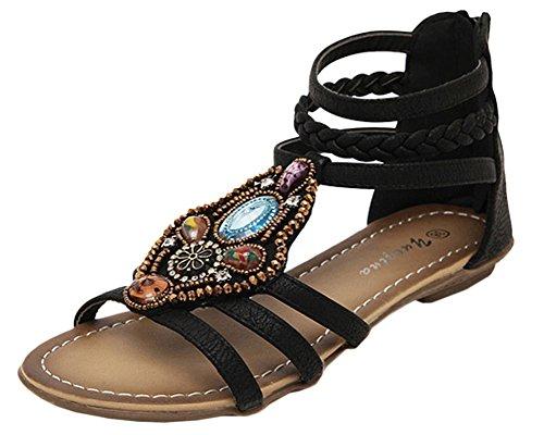 Damen Sommer Böhmen Casual Peep-Toe Strand Schuhe Flach Römische Sandalen Schwarz EU 39