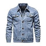 JJWC Denim Jacket Men Otoño Casual Solid Streetwear Hombre Cowboy Chaquetas Moda Multi-Pockets Jeans Abrigos (Color : Light Blue, Size : 4XL code)