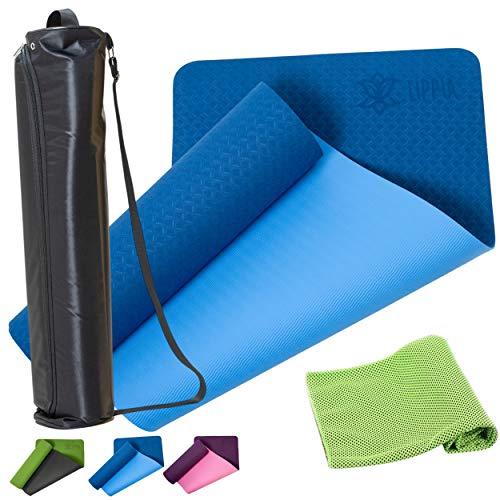 LIPPIA® Tapis de Yoga Antidérapant épais en TPE avec Sac de Transport + Serviette Rafraichissante.(183 x 61 x 0,6 cm)Adhérence au Sol Extra pour Exercice et Entrainement de Sport,Fitness,Gym,Pilates