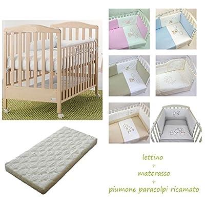 Cuna de madera web Azzurra Design + Edredón Cuna Bordado Baby Idea + Colchón desenfundable