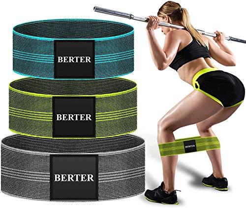 BERTER Widerstandsbänder, Fitnessband Loop Band [3er-Set] Resistance Hip Band 3 Widerstandsstufen für Hüften,Muskelaufbau, Yoga Gymnastik usw