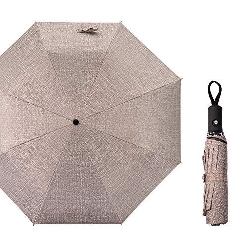 Qinlee 2 en 1 Denim Parapluie Pliable Parasol Manuel Ant-UV Étanche à la Pluie Portable Durable Crème Solaire De Voyage 98cm*56cm Kaki