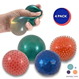 Squeeze Stress Ball Bundle of 4, Bead Balls for Stress and Anxiety Relief