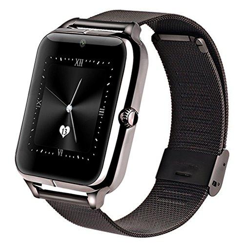Greatcool Metálica Bluetooth Reloj Inteligente Amarre Pulsera Smart Watch Compatible con Android Smartphone Soporta Llamada Mensaje sim Para Smartphone Android