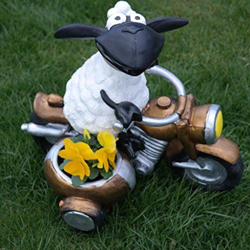 Schaf,Molly auf Motorrad,zum Bepflanzen,Tierfigur,Deko,Garten,Terrasse