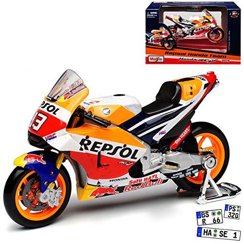 Hon-da RC123V GP18 MotoGP Nr 93 2018 Marc Marquez 1/18 Maisto Modell Motorrad mit individiuellem Wunschkennzeichen