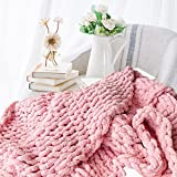 Abound Chunky Knit Blanket Throw - 50'x60' - Soft Chenille Yarn Knitted Blanket - Crochet Blanket - Cable Knit Throw Blanket - Couch, Bed, Weighted Chunky Blanket, Gift - Machine Washable (Pink)