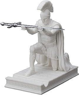 """Veronese Design 7 1/8"""" Tall Resin Cast Marble Finish Roman Centurion Commander Kneeling Pen Holder with Letter Opener"""