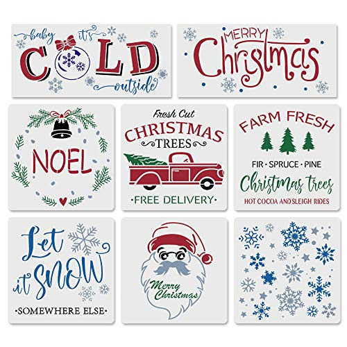 8PCS Reusable Christmas Stencils-8x 8 Inch Merry Christmas Stencils Including Let It Snow/Santa/Noel/Snowflakes/Retro Truck Christmas Tree Stencils ,Make Your Own Farmhouse Projects