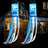 Christmas Windsock 40 Inch Reindeer Winter Flags Outdoor Hanging with White LED Lights, Xmas Deer Elk Outdoor Hanging Decor for Yard Garden Patio Pathway Party Decoration (2)