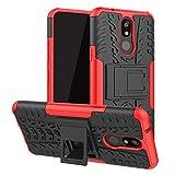 LFDZ LG K40 Funda, Soporte Cáscara de Doble Capa de Cubierta Protectora Heavy Duty Silicona híbrida Caso Funda para LG K40 / K12 Plus Smartphone,Rojo