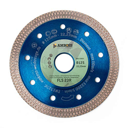 Amboss FLS 23R - extra dünne Diamant-Trennscheibe (1,2 mm) | Ø 125 mm x 22,2 mm - Fliesen/extra hartes Feinsteinzeug/harte Granite/Keramik | Segmenthöhe: 10 mm