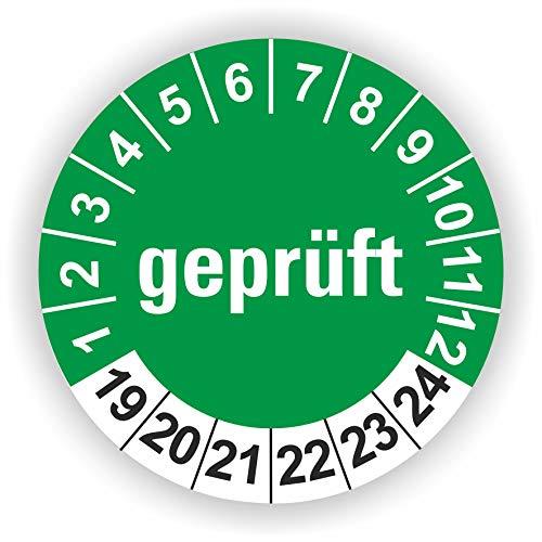 5-1.000 Stück Prüfplaketten Prüfetiketten Wartungsetiketten Geprüft Prüfung Ø 20mm (Grün 90 Stück)