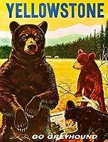 ERZAN壁の装飾牌1950年代イエローストーン国立公園アメリカ合衆国旅行広告金属のブリキ看板20x30cm