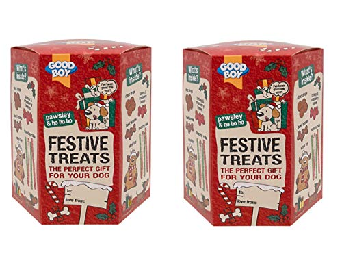 2 X CHRISTMAS FESTIVE TREATS GIFT BOX DOG PUPPY TREATS TURKEY & CRANBERRY BONES CHOC DROPS BEEF BONIES SQUEAKY REINDEER TOY