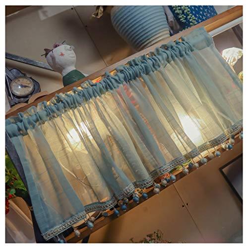 SHYM Hängetuch für Vorhänge im Café Kurze Küchenvorhänge im Landhausstil Durchscheinende Verdunkelungsvorhänge aus Tüll Verwendet für Küche Wohnzimmer Schlafzimmer Badezimmerfenster