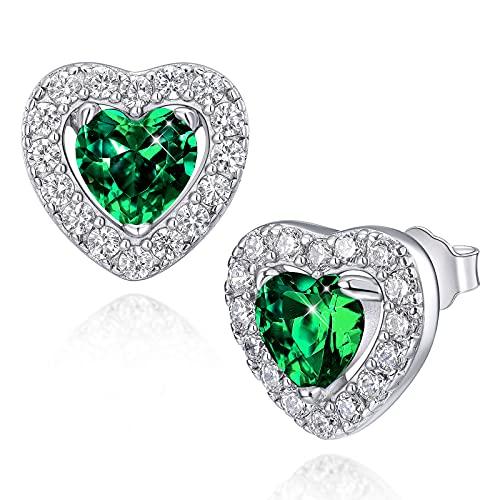 Pendientes para mujer Pendientes de plata de ley 925 con esmeralda y piedra natal de mayo con pendientes de corazón de circonita cúbica 5A